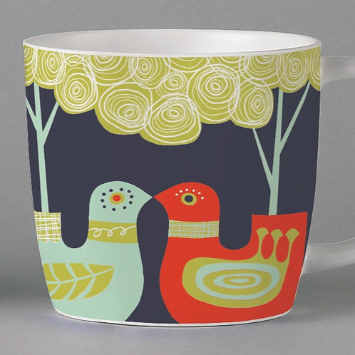 Folkland Lovebirds Mug - Grey