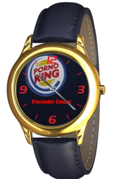 Porno King Bankers Watch in Gold/Blue with Red Explorer dial