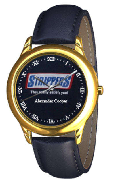 Strippers Gold / Blue Bankers Strap Watch