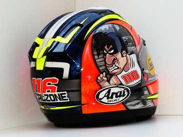 Aerografia caschi, arai, verniciatura, helmet design, grafiche personalizzate, studio grafico fox race design