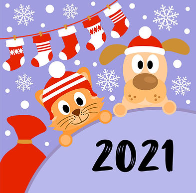 new-year-background-card-with-cat-and-do