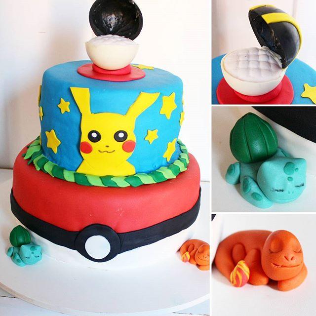 Bolo temático Pokémon! Todo comestível e com duplo recheio de leite ninho com Nutella