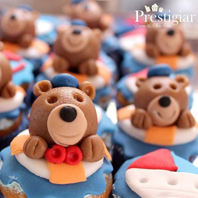 🐻⚓🚢⛵ Mini cupcakes com modelados de leite ninho. Tema_ Ursinho Marinheiro