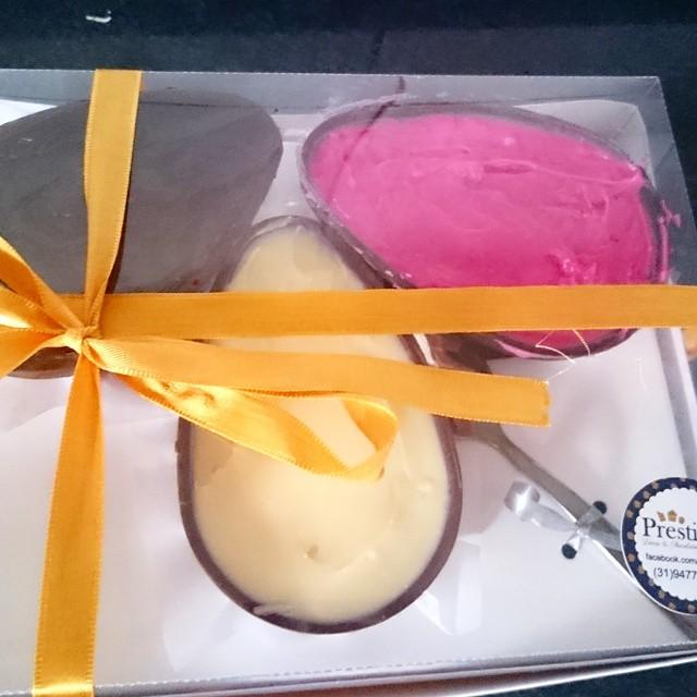 Trio Napolitano #Prestigiar #chocolate #baunilha #morango #vanila #eggs #easter #Pascoa2015
