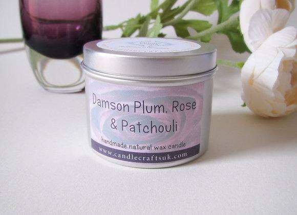 damson plum, rose & patchouli candle