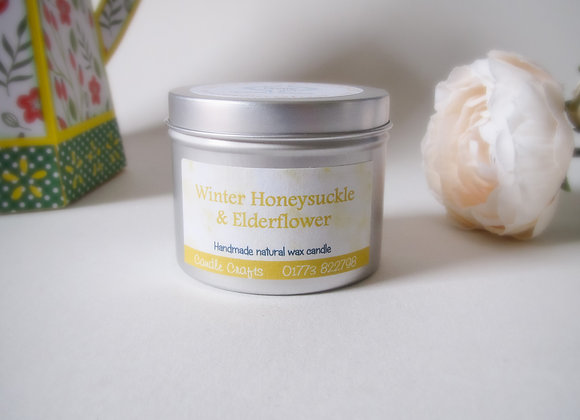 winter honeysuckle & elderflower scented candle