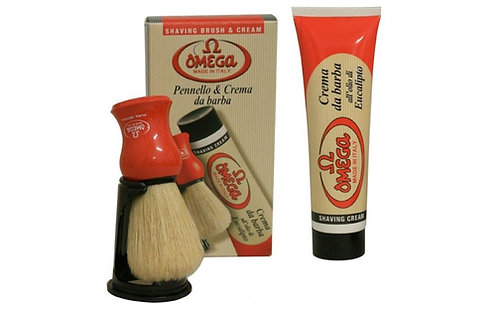 Omega Shaving Brush and Cream Set