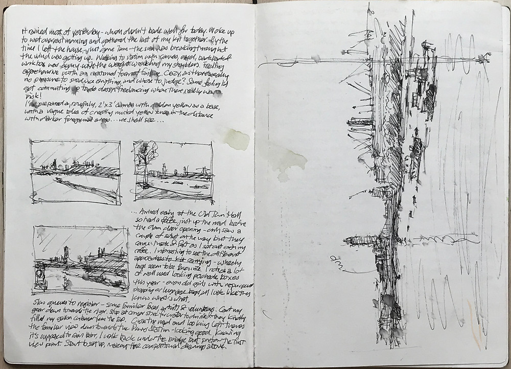 Compositional drawings and notes in sketchbook