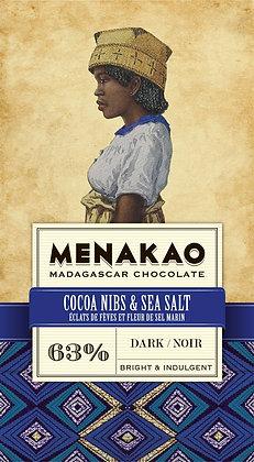 CHOCOLAT NOIR (63% CACAO MIN) – ECLATS DE FÈVES ET FLEUR DE SEL MARIN