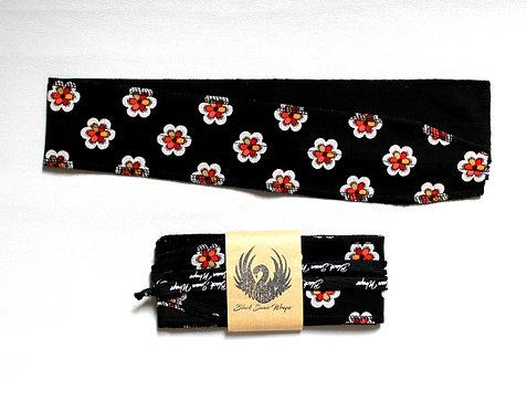 Wrap tissu petites fleurs ( fond noir )