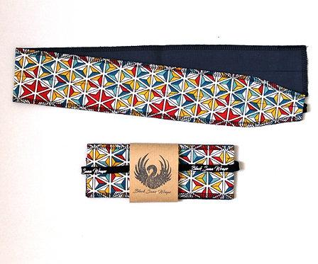 Wrap Tissu Kaléidoscope fond bleu
