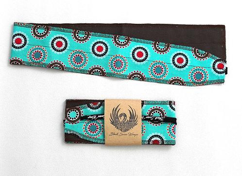 Wrap tissu mini cercles fond turquoise
