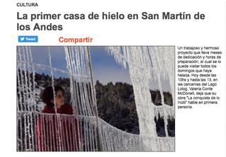 La primera casa de hielo en San Martín de los Andes