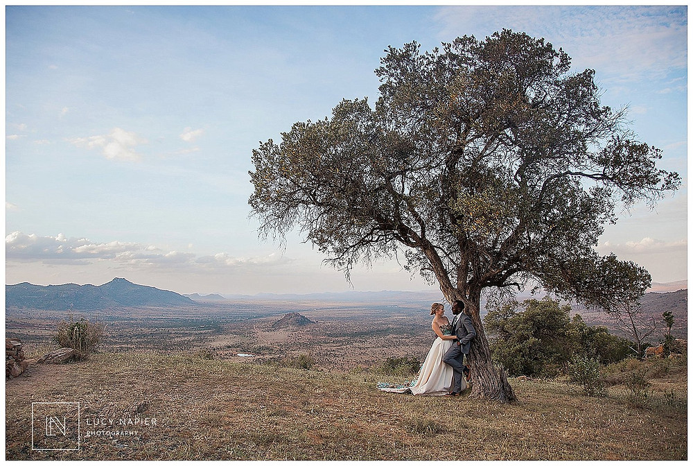 Couple pose under a tree at a Kenyan wedding