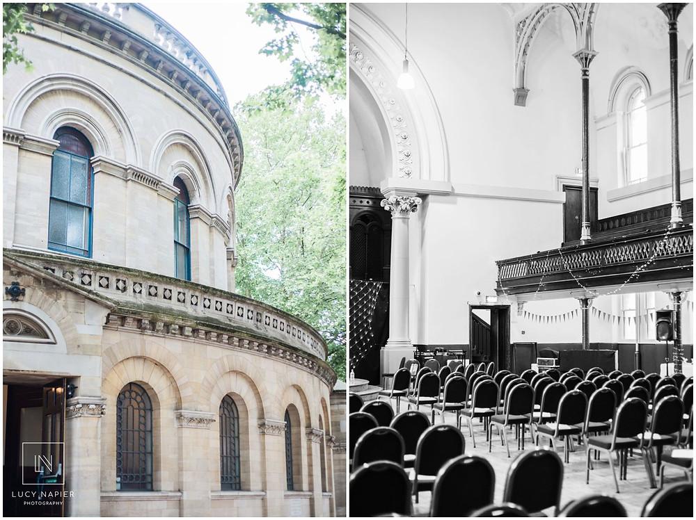 London's Round Chapel. Wedding venue set up.