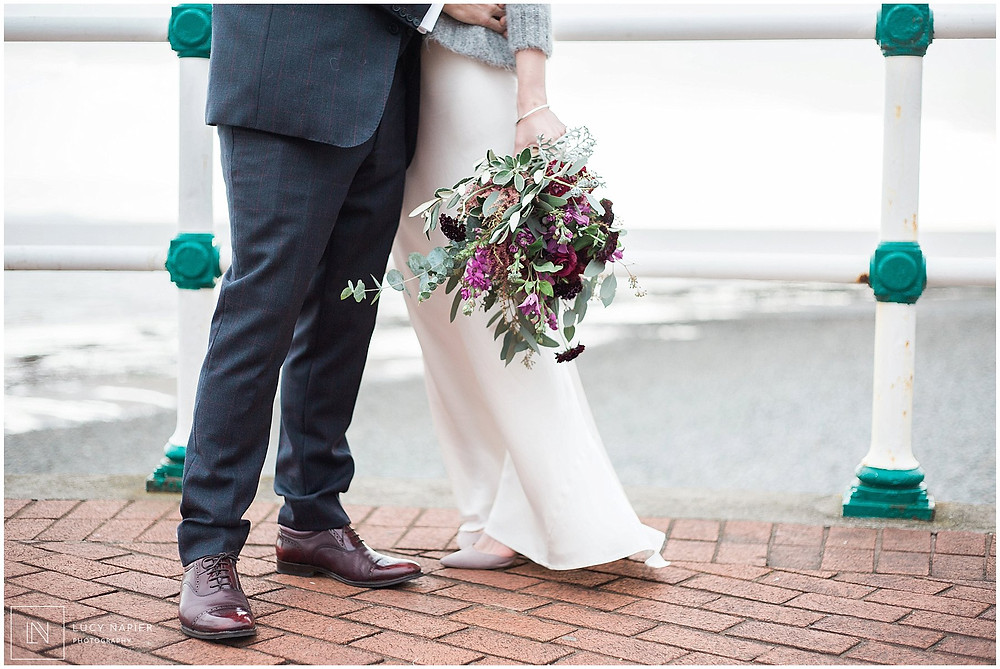 bouquet shot on the pier penarth wedding photography
