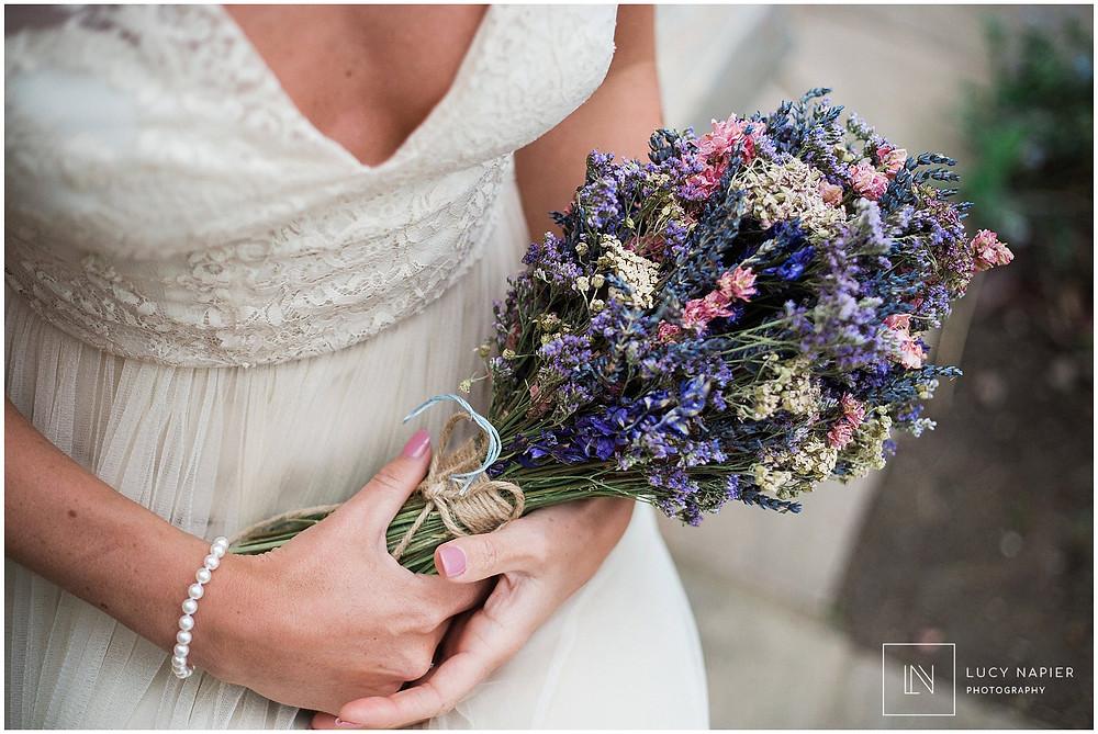 dried flower wedding bouquet