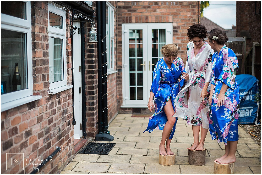 bridesmaids get ready for a Mobberley wedding