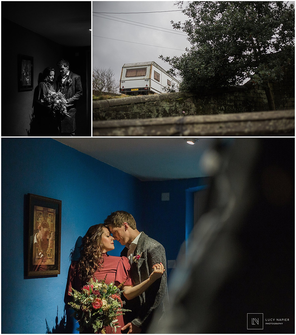 dark couples portraits at Ponden Hall