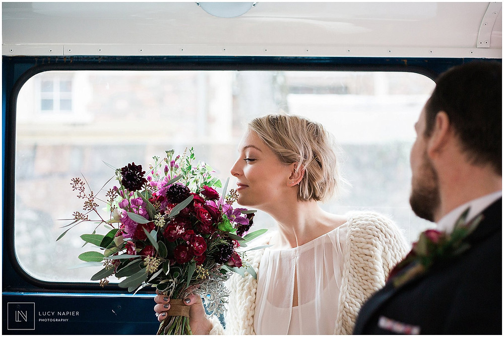 bride rides on the bus to her wedding Cardiff