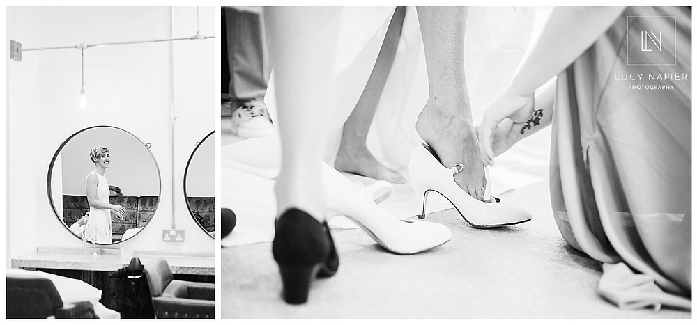 wedding dress and shoes go on.