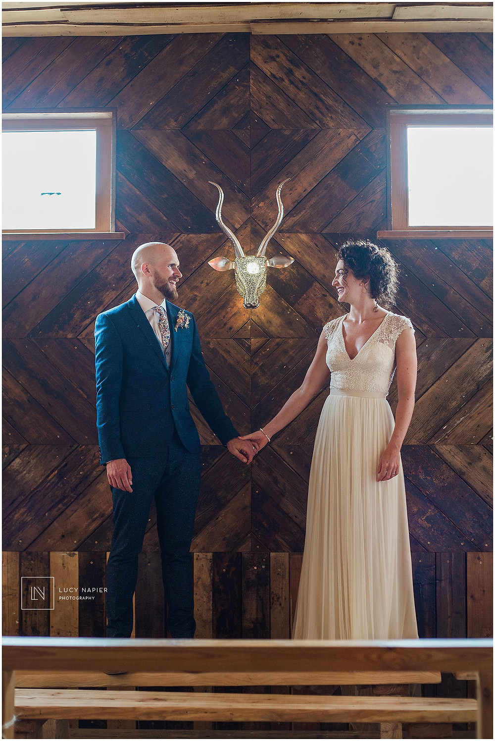 Bridal Portraits in the ceremony room Owen house Wedding Barn