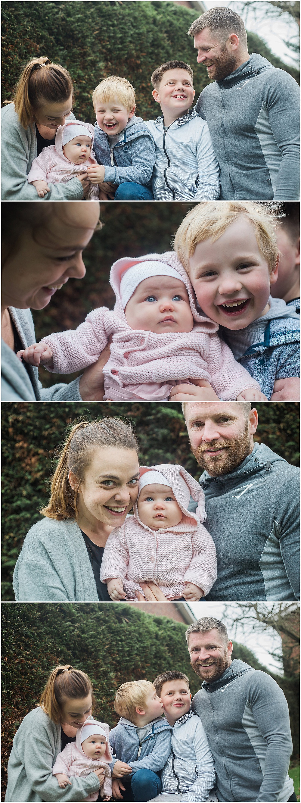 family of five pose for natural family photos