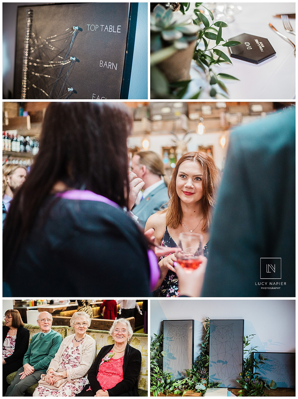 guests wait around details, table plan, coasters and table settings at a geometric themed wedding