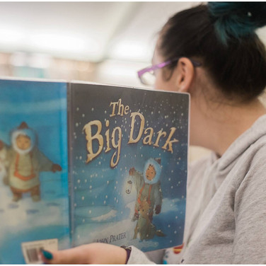 lady reading the big dark