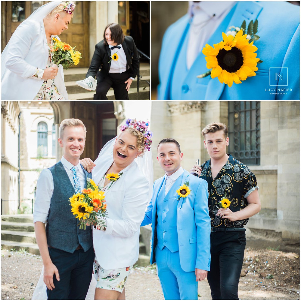 sunflower themed wedding at the round chapel London