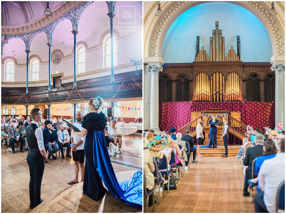 two grooms marry in a same sex wedding in the round chapel London