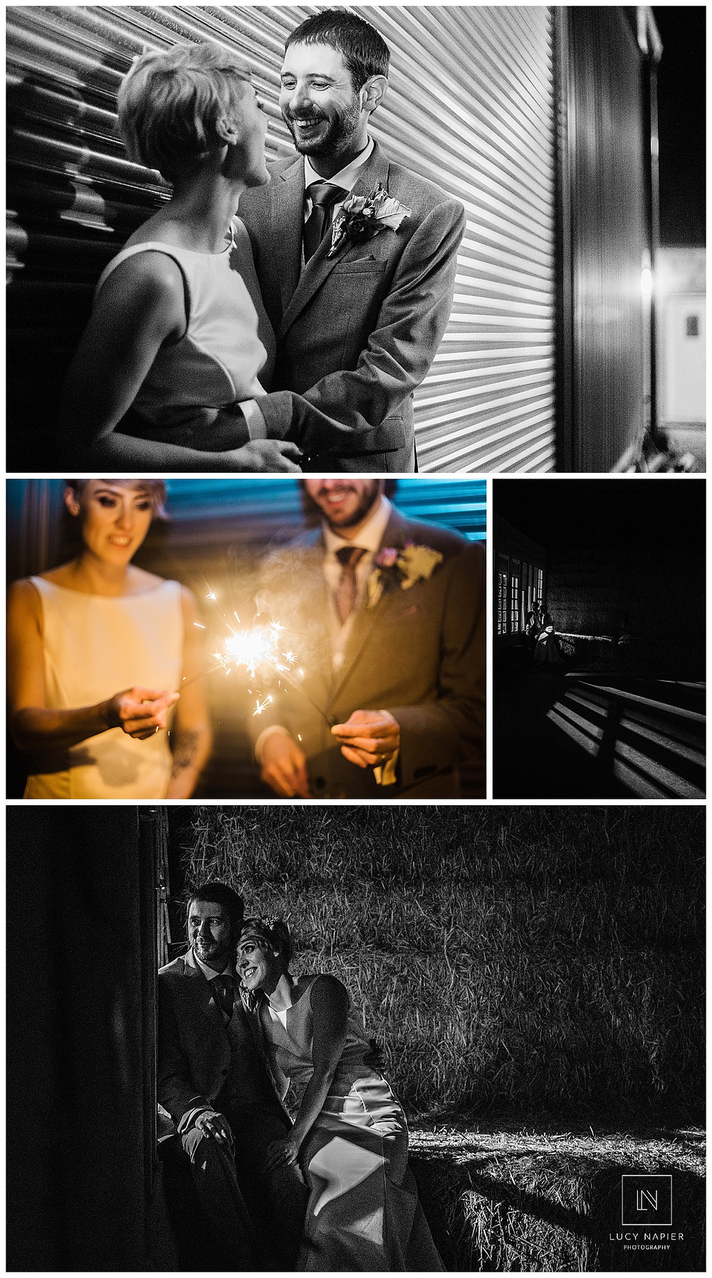 the bride and groom with sparklers, pose in front of some shutters and in the darkness of the hay bales, picked out in the stripes of light