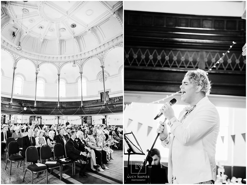 man sings at a wedding at the round chapel east London