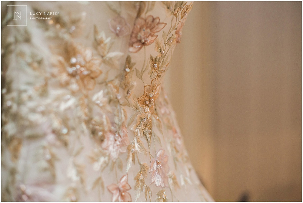 details on the beautiful embroidered wedding dress
