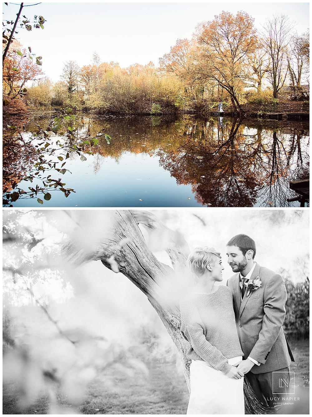 the bride and groom look out over the lake, their reflection in the water, autumn colours in the trees