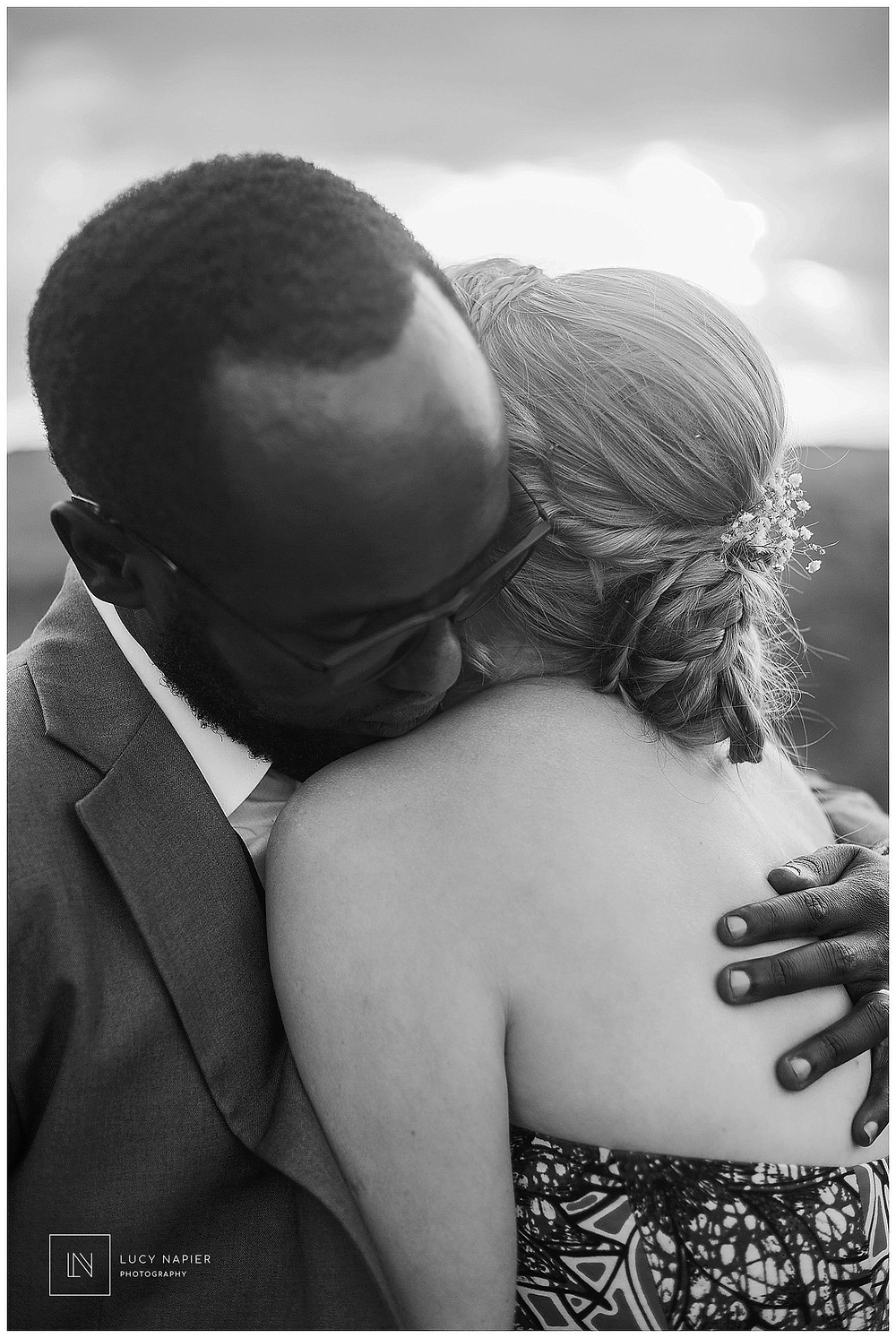 black and white portrait of a hug