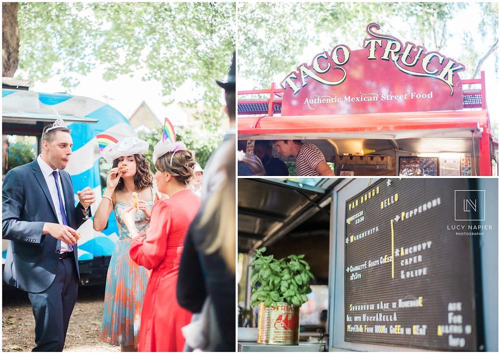 food trucks at a gay wedding at the round chapel London