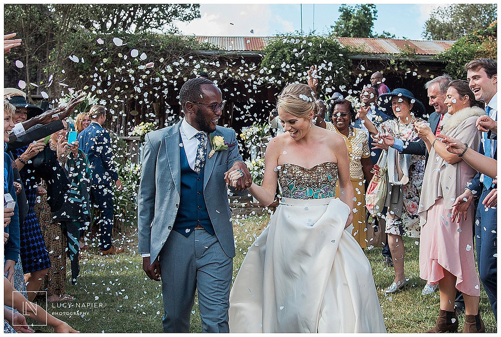 confetti at a english african wedding