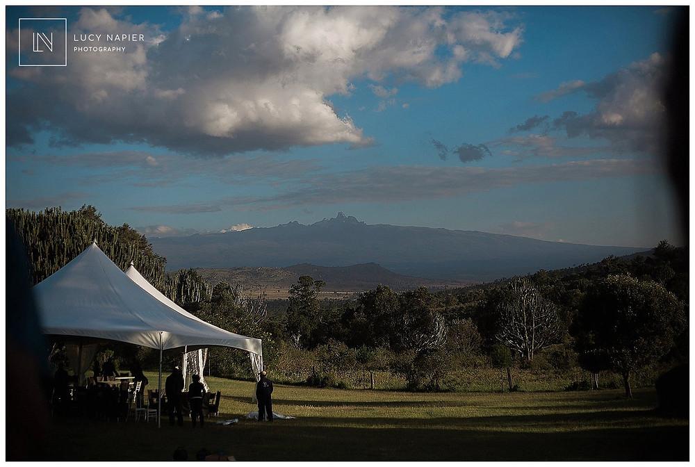 Marquee overlooking Mount Kenya