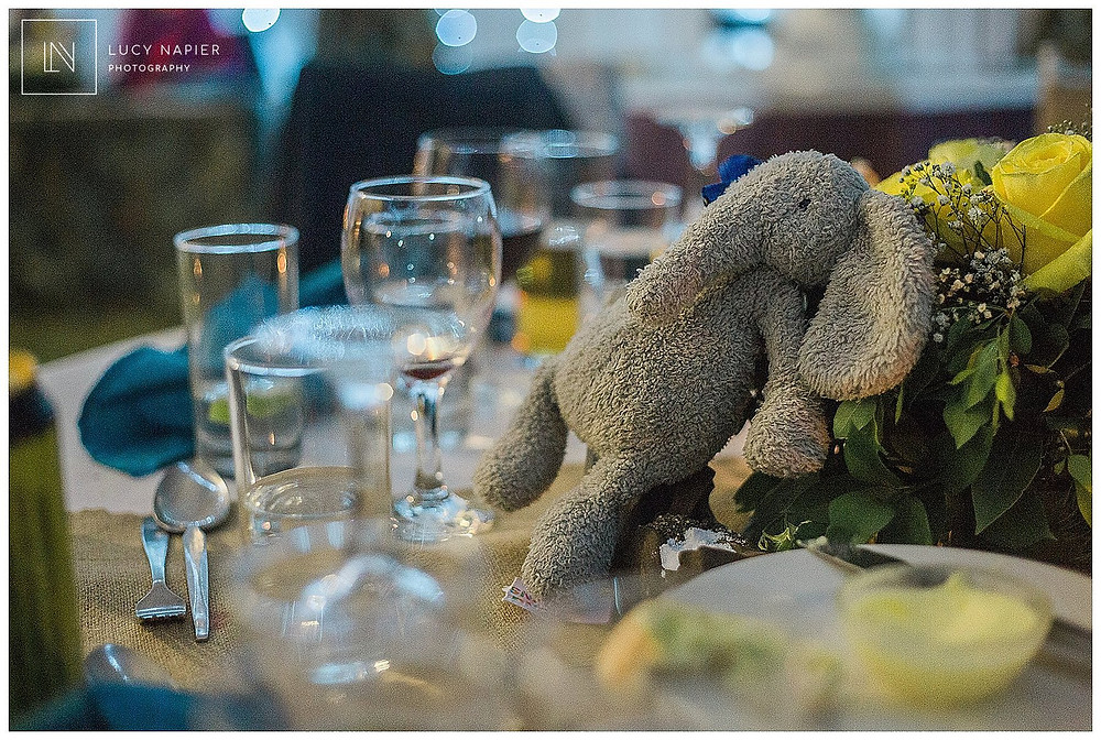 toy elephant at a table