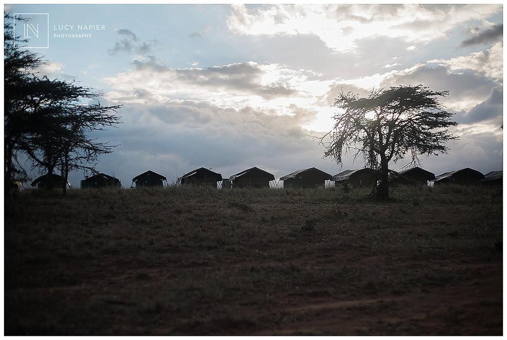 A row of tents look out over the African scenery