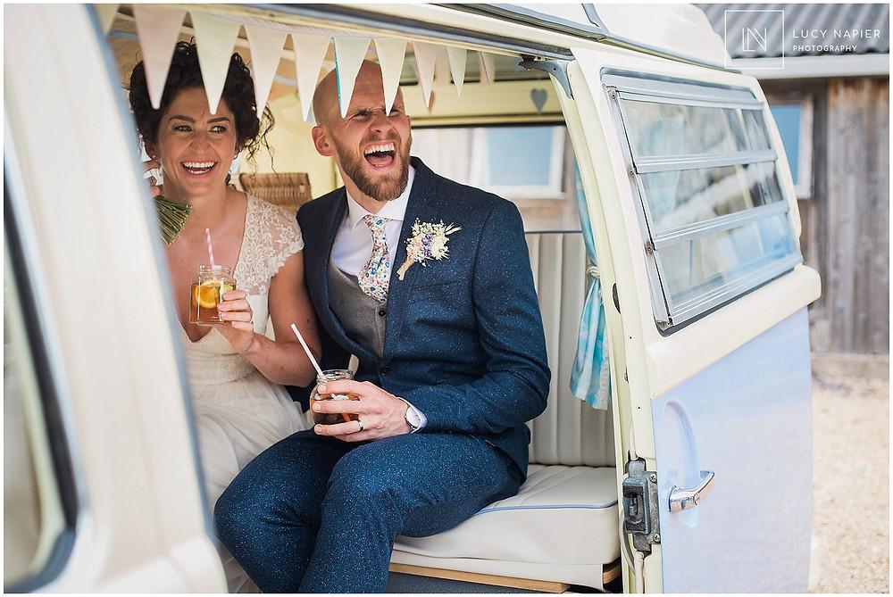 Powder blue vintage VW Camper Van at a Mobberley Wedding