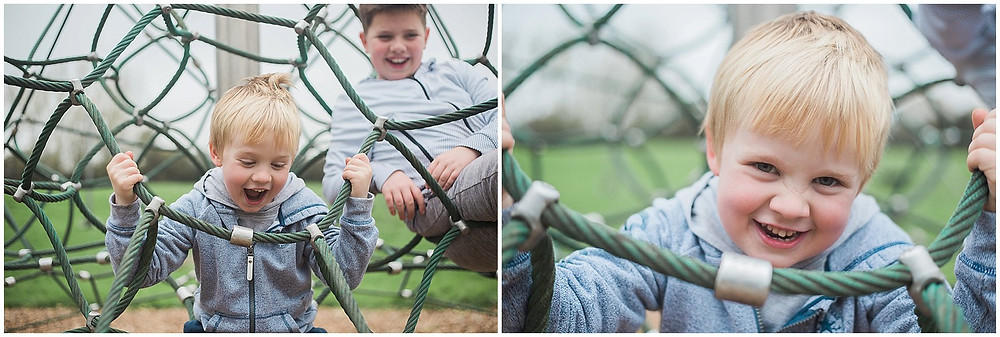 having fun on the climbing frame