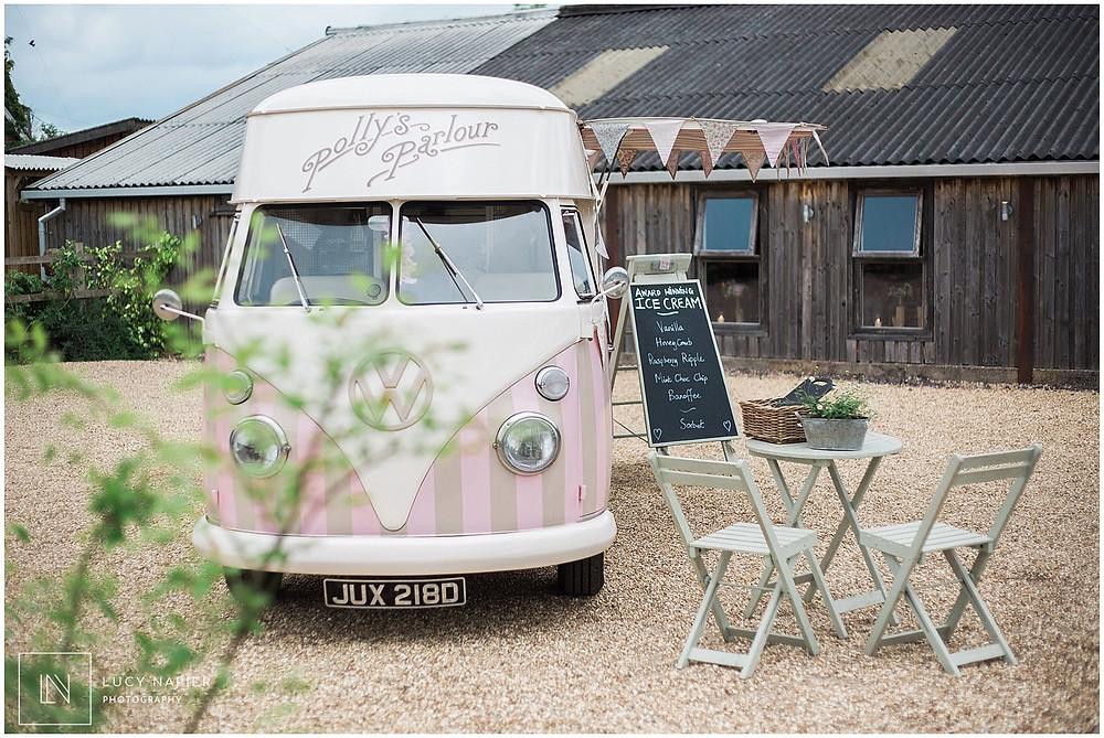 Vintage Ice-cream truck at Owen House Wedding Barn