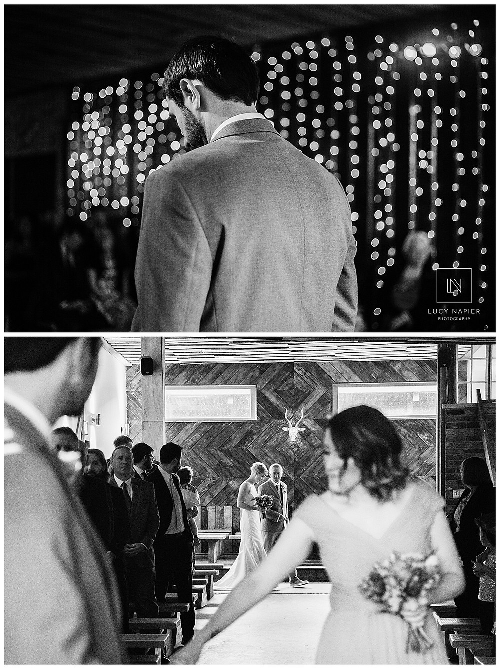 the groom Tex waits for his bride to walk down the aisle of Owen House Wedding Barn ceremony room black and white image