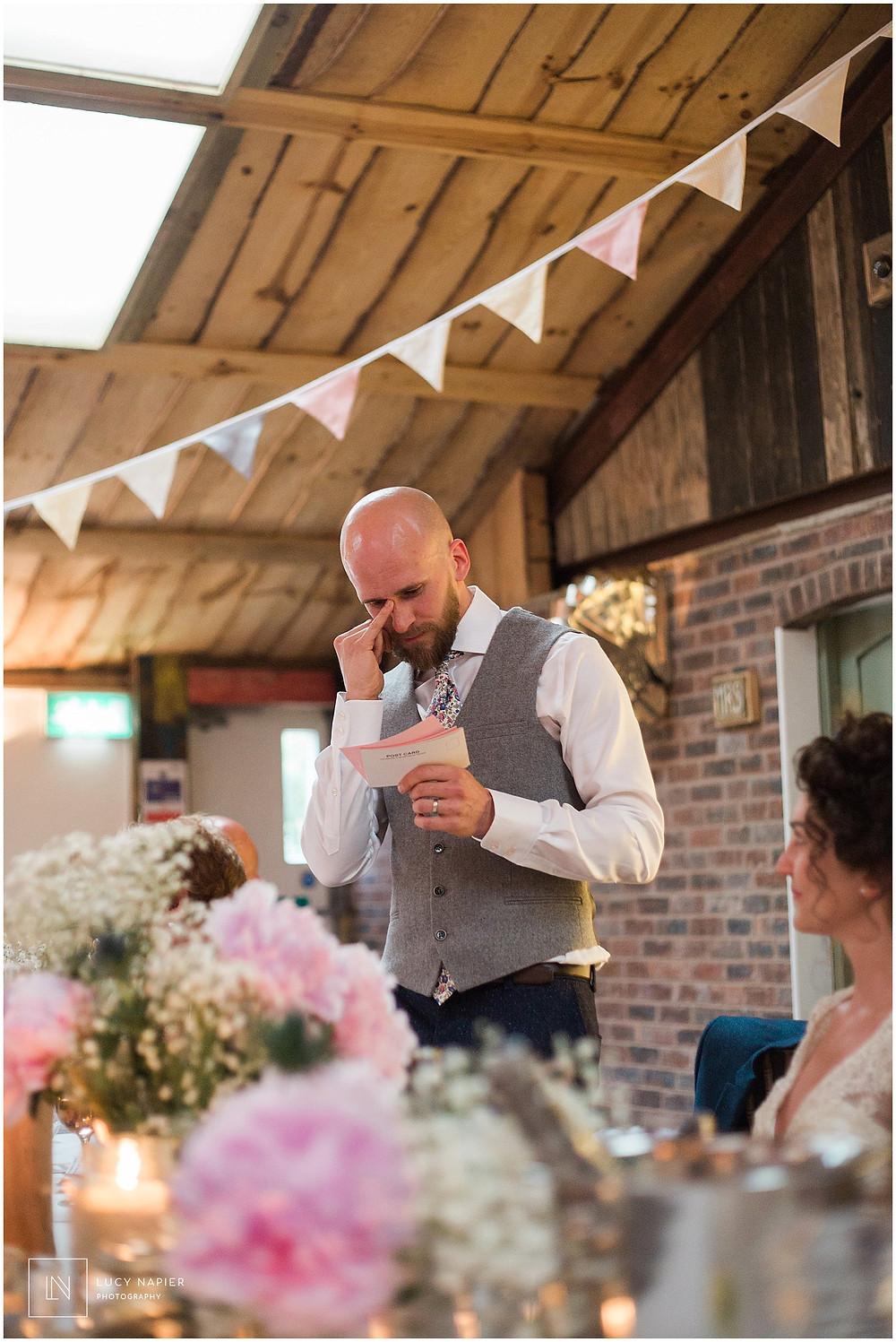 groom cries during wedding speech