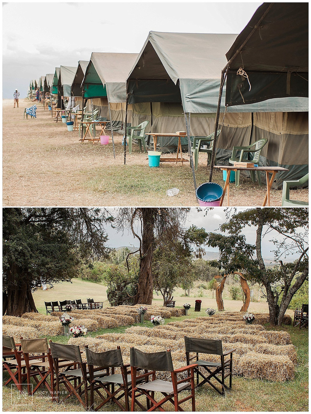 tents lined up in Kenya