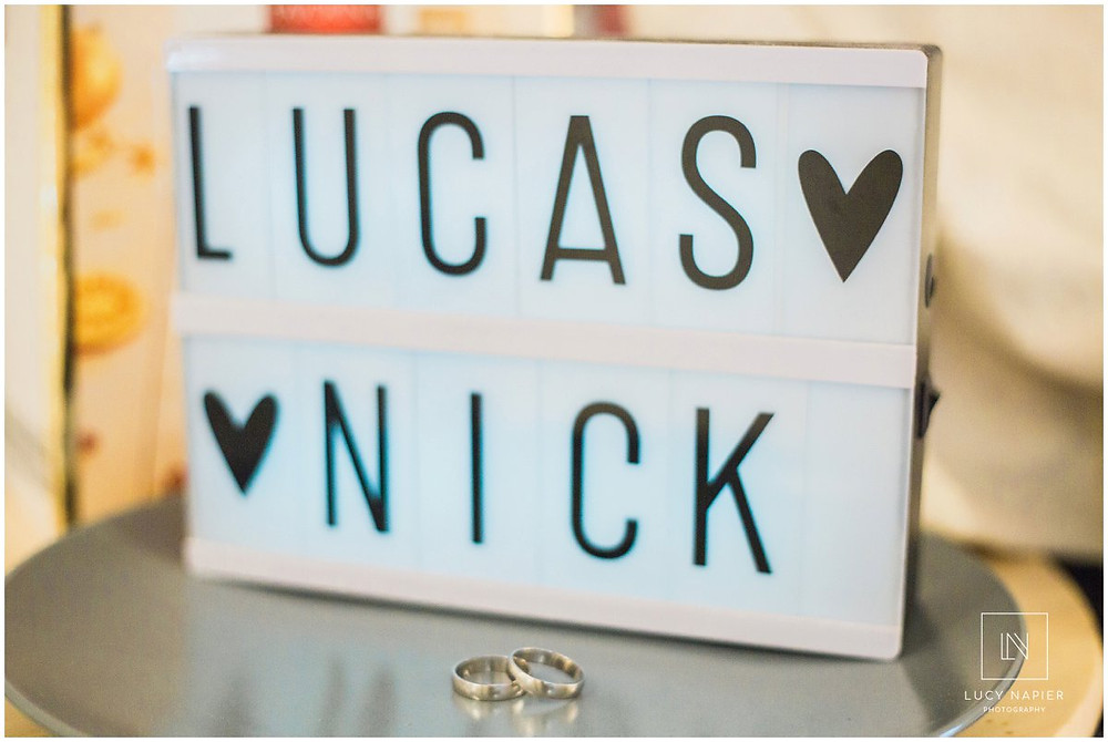 names Lucas and Nick and a pair of wedding rings