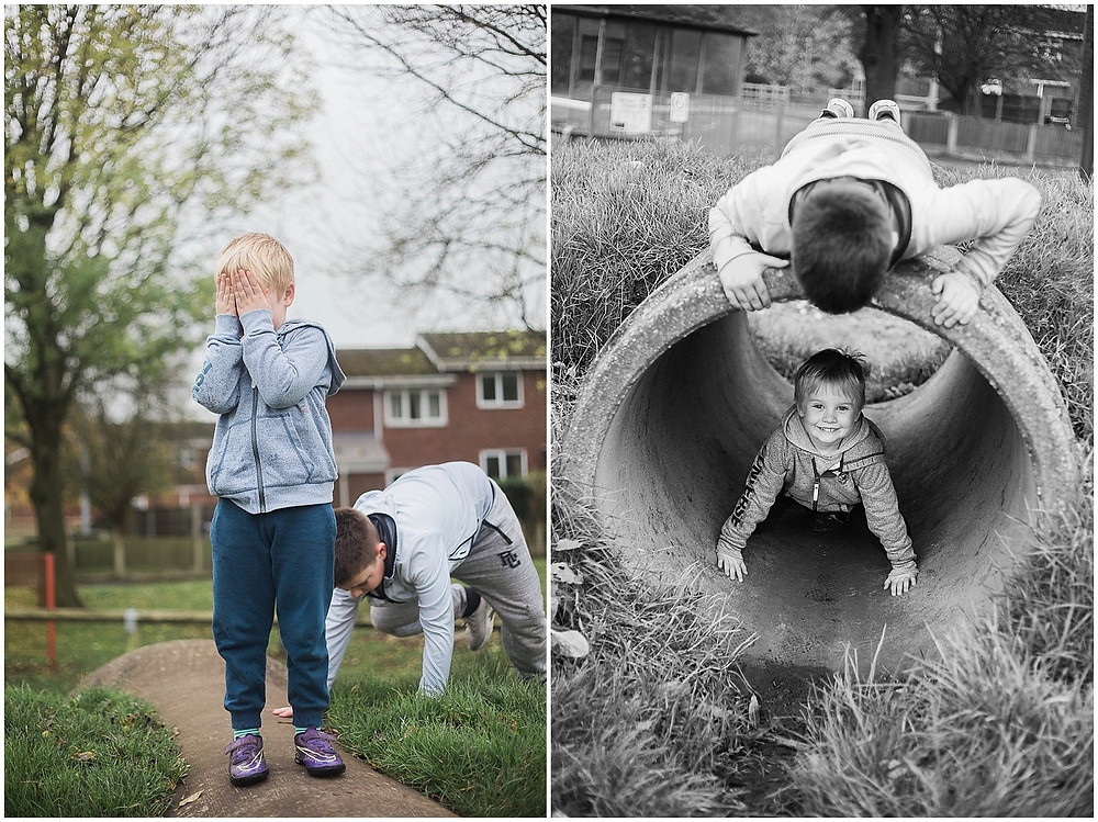 hide and seek in a concrete pipe