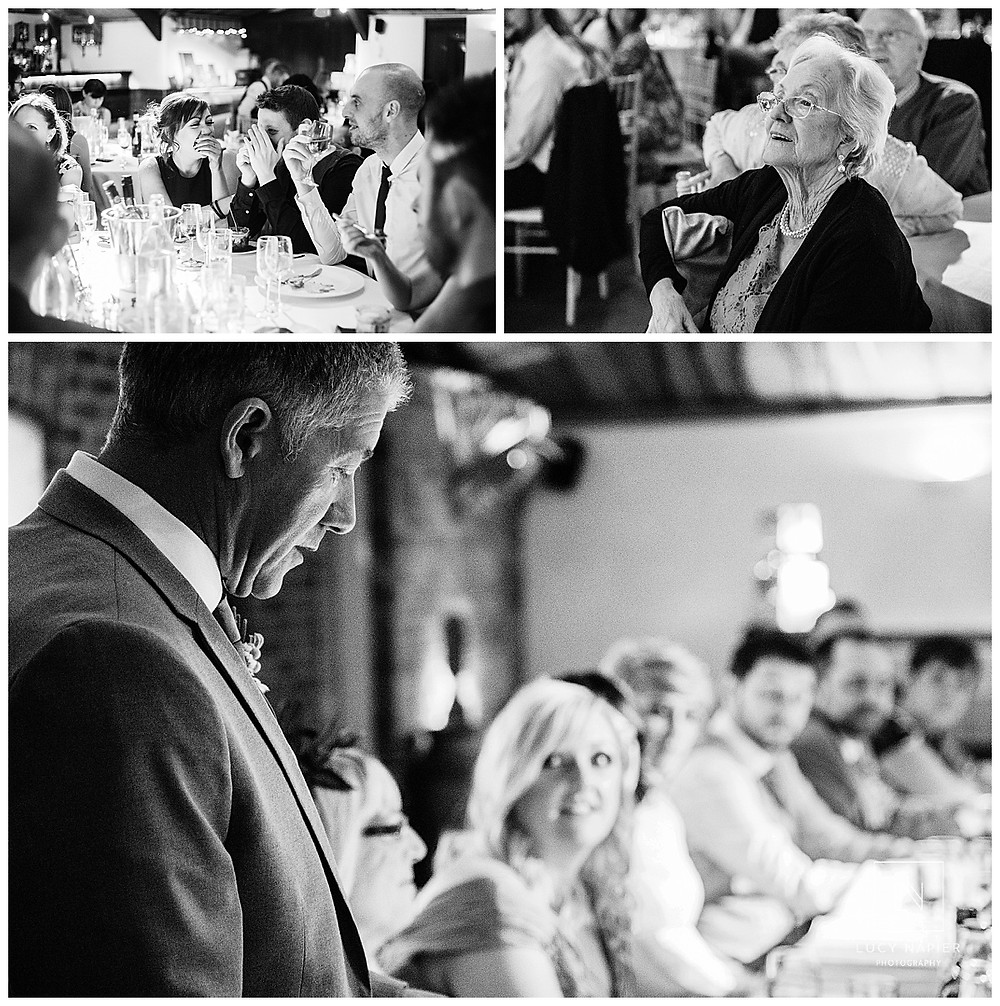 Father of the bride makes a speech as guests look on and laugh at his jokes